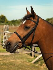 Heritage English Leather Horse Pony Bridle With Fancy Stitched Cavesson Noseband