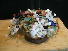 """Gorgeous Vintage Jade Stone Flowers on Branch Plant 13""""Wide x 9""""Deep x 5.5""""Tall"""