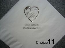 100 Personalised Wedding Napkins 9 NEW designs