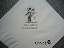 100 Personalised Wedding Napkins Various designs  & Napkin Colours