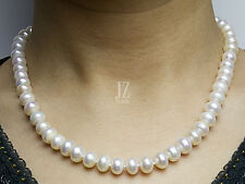 Freshwater Pearl Bridal 8 mm -10 mm  Necklace with Sterling Silver Heart Clasp.
