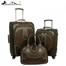 3Clrs- Montana West 3PC Tooling Leather Luggage Set