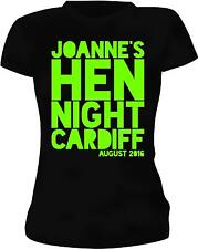 PERSONALISED NEON GREEN JOANNE'S HEN PARTY T-SHIRT/VEST TOP HEN NIGHT PARTY TOPS