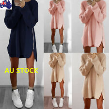 Women Zipper Sweater Long Sleeve Knitwear Pullover Split Jumper Loose Mini Dress