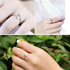 Fashion Double Round Cut CZ Opening Adjustable Ring Silver Plated Jewelry
