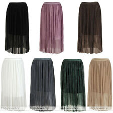 Women Vintage Pleated Elastic High Waist Double Layer Long Skirt Free Size