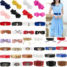 Women Stretch Buckle Wide Waist Belt Elastic Corset Dress Retro Belt Waistband