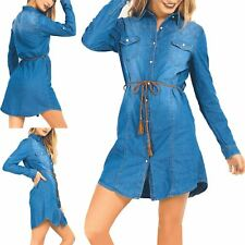 Womens Denim Long Sleeve Button Belted Ladies Collared Jacket Shirt Mini Dress