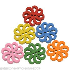 """Wholesale lots FREESHIPPING Wood Buttons Hollow Sunflower Mixed 20mm( 6/8"""")  GW"""