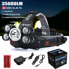 35000LM 5x XM-L T6 LED Headlamp Rechargeable Headlight 18650 Charger Light Kits