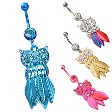 Belly Ring Stainless Steel Body Owl Leaves Rhinestone Piercing 1Pcs Navel Button