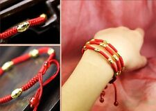 Hand Braided Red Lucky String Rope 14K Gold plated Adjustable Bracelet GD