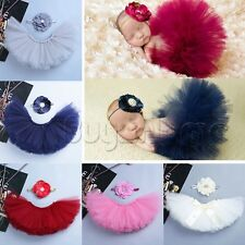 Infant Newborn Headdress Flower+Tutu Clothes Skirt Baby Girl Photo Prop Outfits