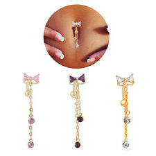 Belly Bars Drop Body Piercing Belly Button Ring Crystal Dangly Reverse Navel Bar