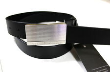 Armani Exchange A|X Men's Pinstripe Logo Buckle Leather Belt -C6BE150