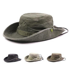 Mens Fisherman Cotton Embroidery Bucket Climbing Hat Mesh Breathable with Brim