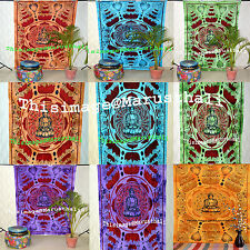 Indian Twin Size Bohemian Tapestry Wall Hanging Lotus Buddha Hippie Bedspread