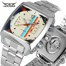 Aviator Mens Sport Auto Date Square Analog Mechanical Skeleton Wrist Watch Gift