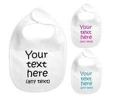 PERSONALISED BABY BIB CUTE BABY GIFT FUNNY ANY CUSTOM TEXT PINK BLUE BABY SHOWER