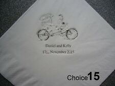 100 Personalised Wedding Napkins 9 NEW designs, choice of napkin Colours