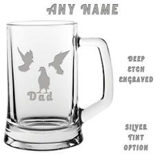 PIGEON Fancier Engraved Glass Beer Tankard Personalised FREE DELIVERY