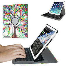 For Apple iPad Rotating Case Cover Stand w/ Built-in Wireless Bluetooth Keyboard