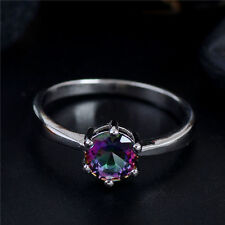 MULTI-COLOR CZ CRYSTAL SOLITAIRE RING .925 STERLING SILVER  SIZES 5, 6, 7, 8, 9
