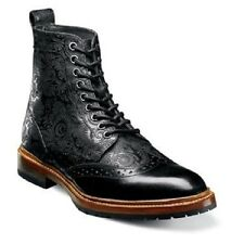 Madison II Stacy Adams Mens boot  Wingtip lace Black Leather vintage 00085-001