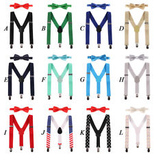 Baby Kids Boy Girl Clip-on Suspenders & Bow Tie Y-Back Elastic Braces Outfit Set