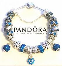Authentic PANDORA HEART CLASP Charm Bracelet Sterling Silver European Beads #36