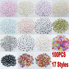 100 Pcs Acrylic Mixed Alphabet Letter Coin Round Flat Spacer Beads Diy 4x7mm