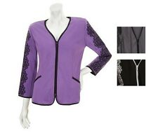 NWT BOB MACKIE'S Ponte Knit Embroidered Lace Zip Front Jacket Many Size 240427RM