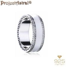 S925 Sterling Silver Pearlescent Hearts of PANDORA Band Love Ring