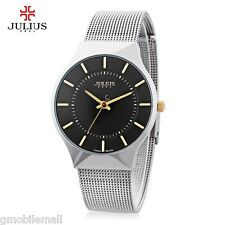 Male Ultrathin Quartz Wrist Watch Stainless Steel Mesh Band 30M Water Resistant