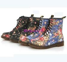 Lady Womens flowers Martin Boots lace Martin Mid-Calf Shoes Combat Ankle Boots