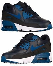 NIKE AIR MAX 90 BOYS GS LEATHER RUNNING DARK OBSIDIAN - COURT BLUE - WHITE - BLK