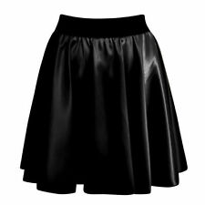 Womens Ladies Sexy High Waist Faux Leather Wet Look Skater Mini Flare Skirt 8 10