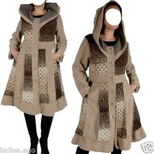 WINTER WOOL COAT HOODED PATCHWORK 40 42 44 46 157 6/12ft L XL XXL TRENCH BEIGE