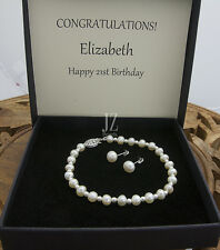 Freshwater Pearl Bridal Bracelet Japanese pearl beads & S/Silver Filigree Clasp.