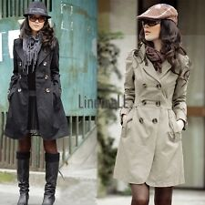 New Fashion Womens Slim Fit Trench Double-breasted Coat Jacket Outwear LM01