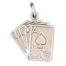 18K Gold Spades Royal Flush Poker Pendant (Yellow or White Gold) AZ11230-18K