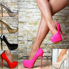 Luxury Ladies' shoes LACQUER Party Pumps High Heels Platform SeXy Red Neon Pink