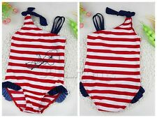 Toddler Kids Baby Girls Striped Bikini Swimwear Swimsuit Bathing Suit Beachwear