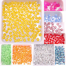 100 500 1000Pcs 4mm Loose Spacer Crystal Glass Bicone Beads Finding 24 Colors