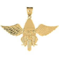 14K Gold Motorcycle Officer & Wings Pendant, Yellow, White or Rose AZ4562-14K