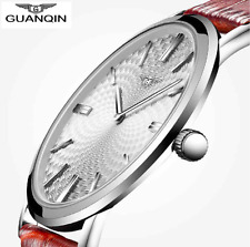 GUANQIN Watch Men Leather Ultra Thin Quartz Watch Mens Watches Top Brand Luxury