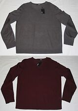 Murano Mens NWT Lightweight 3-Season L/S V-Neck Shirt Sweater, L, XL, Gray, Red