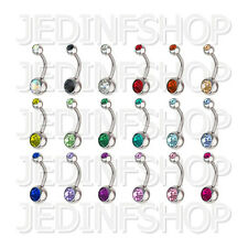Navel Belly Bar - 1.6mm (14g) - 12mm - Double Gem - Stainless Steel