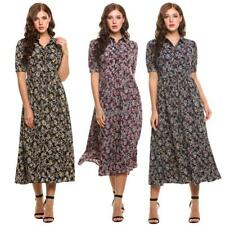 Women's Vintage Style Peter Pan Collar Short Sleeve Floral Print Long Maxi OK