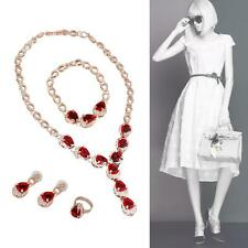 4X/Set Wedding Bridal Party Prom Jewelry Sets Necklace Earrings Bracelet Ring CN
